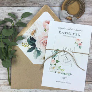 rustic letterpress wedding invitation with watercolor flowers and kraft envelope