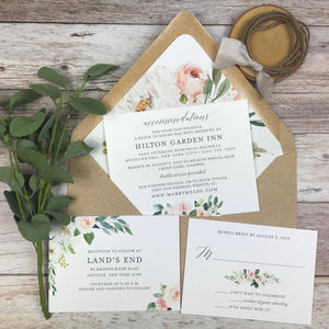 rustic letterpress wedding invitation suite