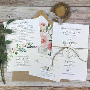 letterpress wedding invitation suite with watercolor flowers