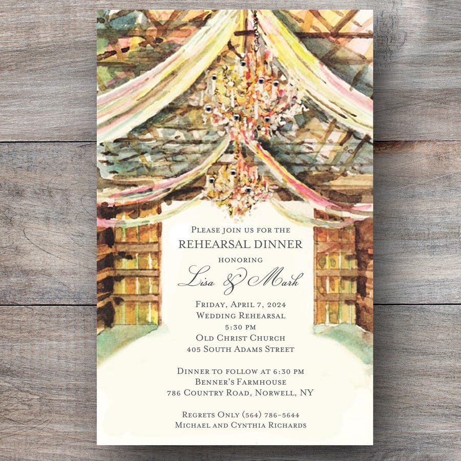 wedding rehearsal dinner invitations with rustic barn and crystal chandeliers