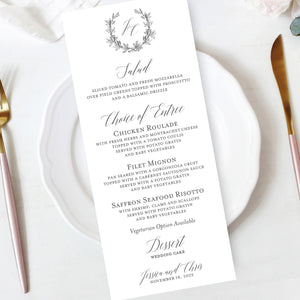 Botanical Wreath Wedding Reception Menu Insert Image