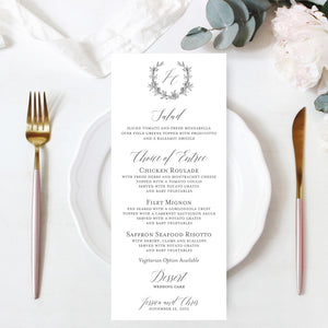 Botanical Wreath Wedding Reception Menu