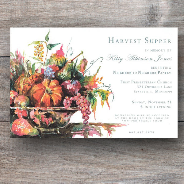 Thanksgiving invitations with silver urn filled with the bounties of the season