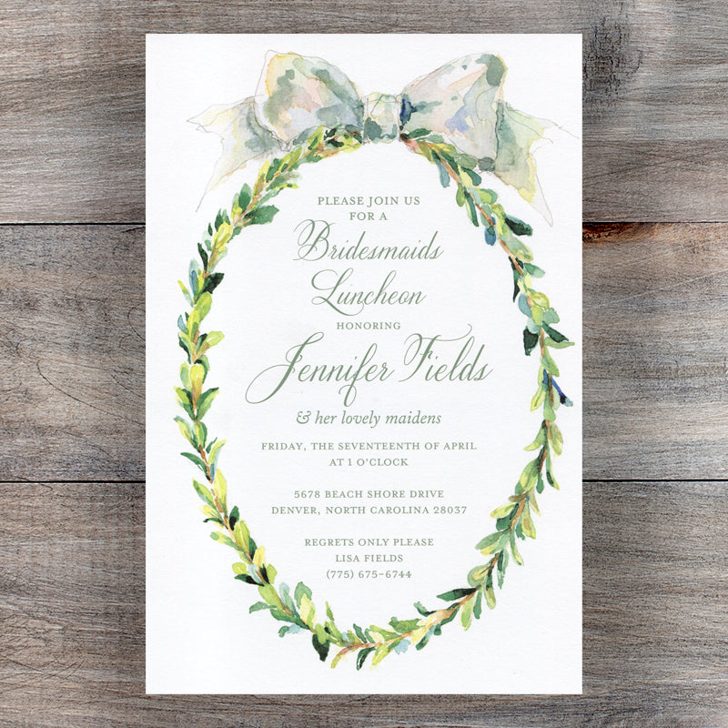 Boxwood Wreath Bridesmaid Luncheon Invitations