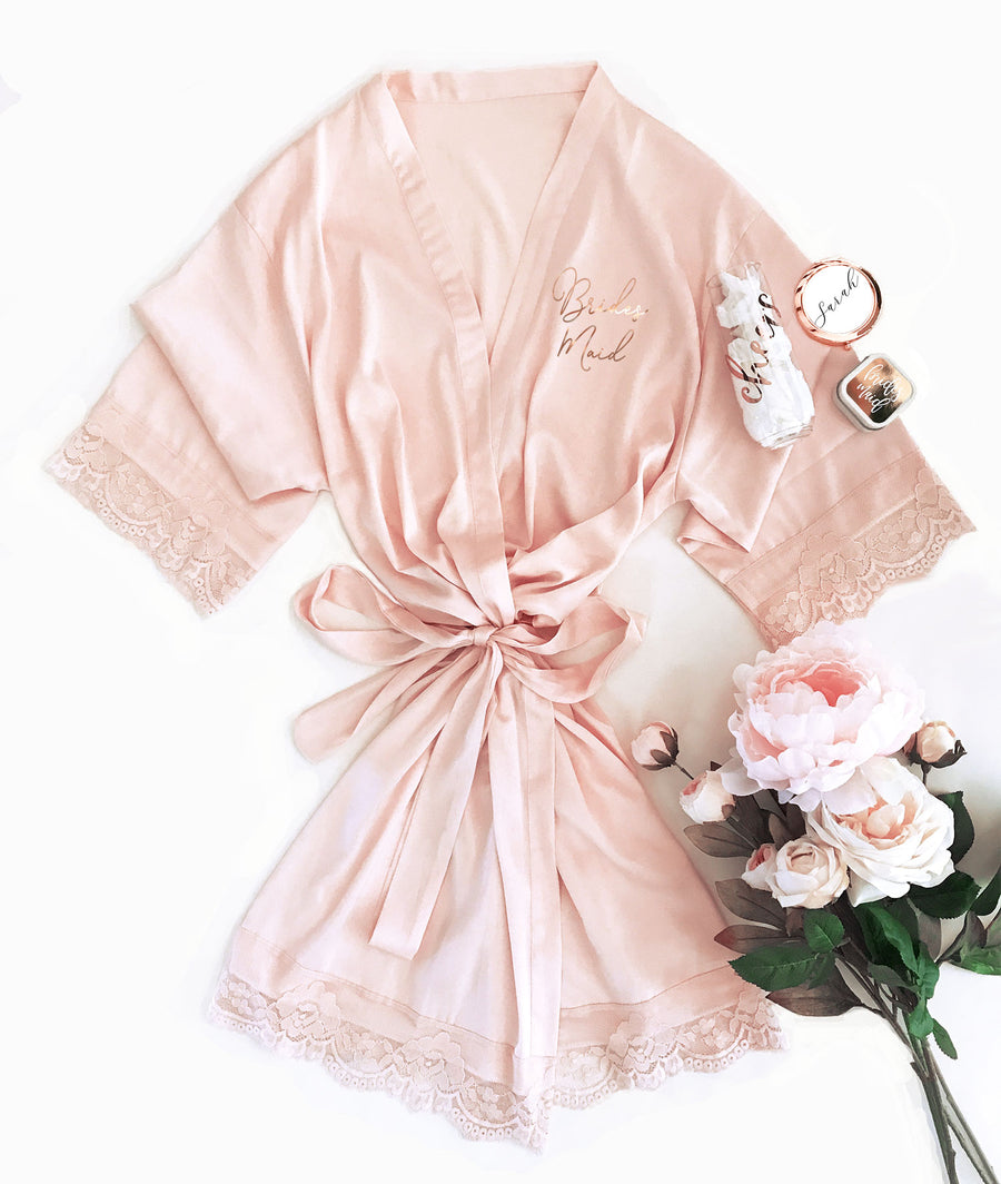 Bridal Party Satin Lace Robe Bridesmaid Gift Main