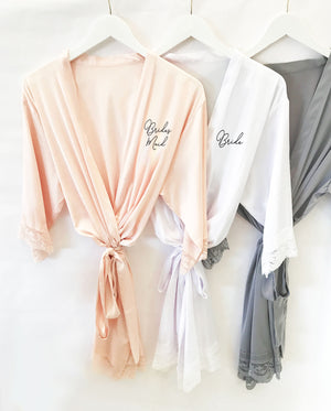 Bridal Party Satin Lace Robe Bridal Party Gift Front Personalization