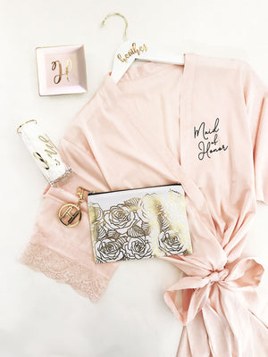 Bridal Party Satin Lace Robe Maid of Honor Gift