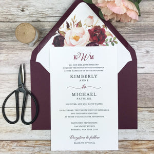 burgundy and blush wedding invitation with floral envelope liner