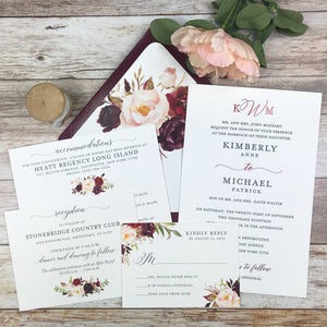 burgundy and blush letterpress wedding invitation suite