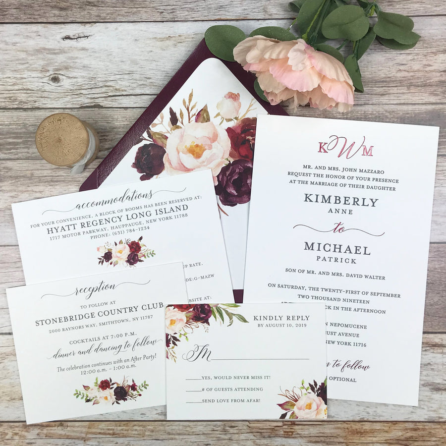 burgundy and blush letterpress wedding invitation
