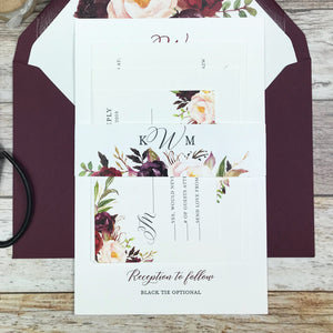 burgundy and blush letterpress wedding invitation with belly band