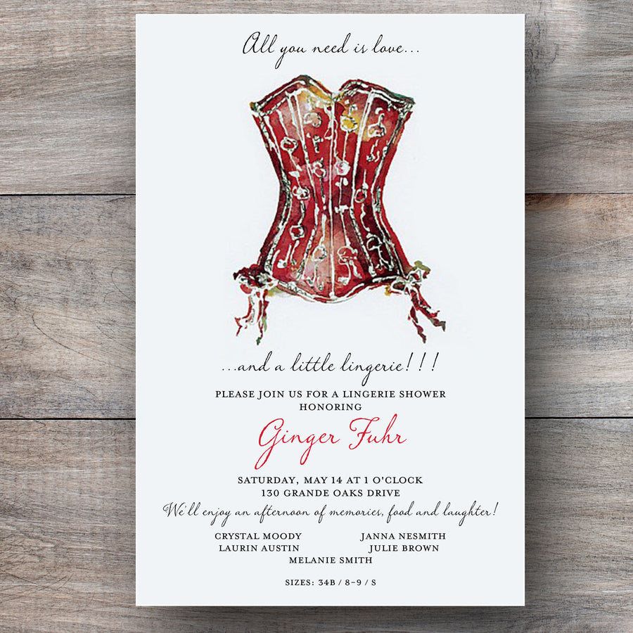 bridal lingerie shower invitations with vintage bustier