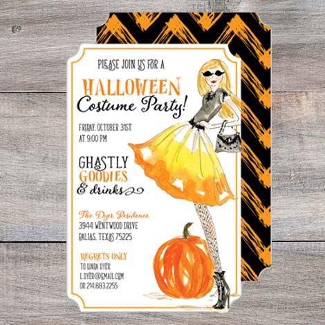 Candy Corn Fashionista Halloween Party Invitations
