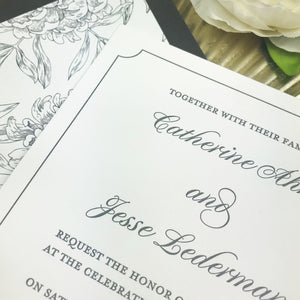 close up of letterpress printing on wedding invitation