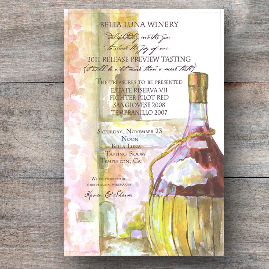 wine party invitations with bottle of Chianti red wine
