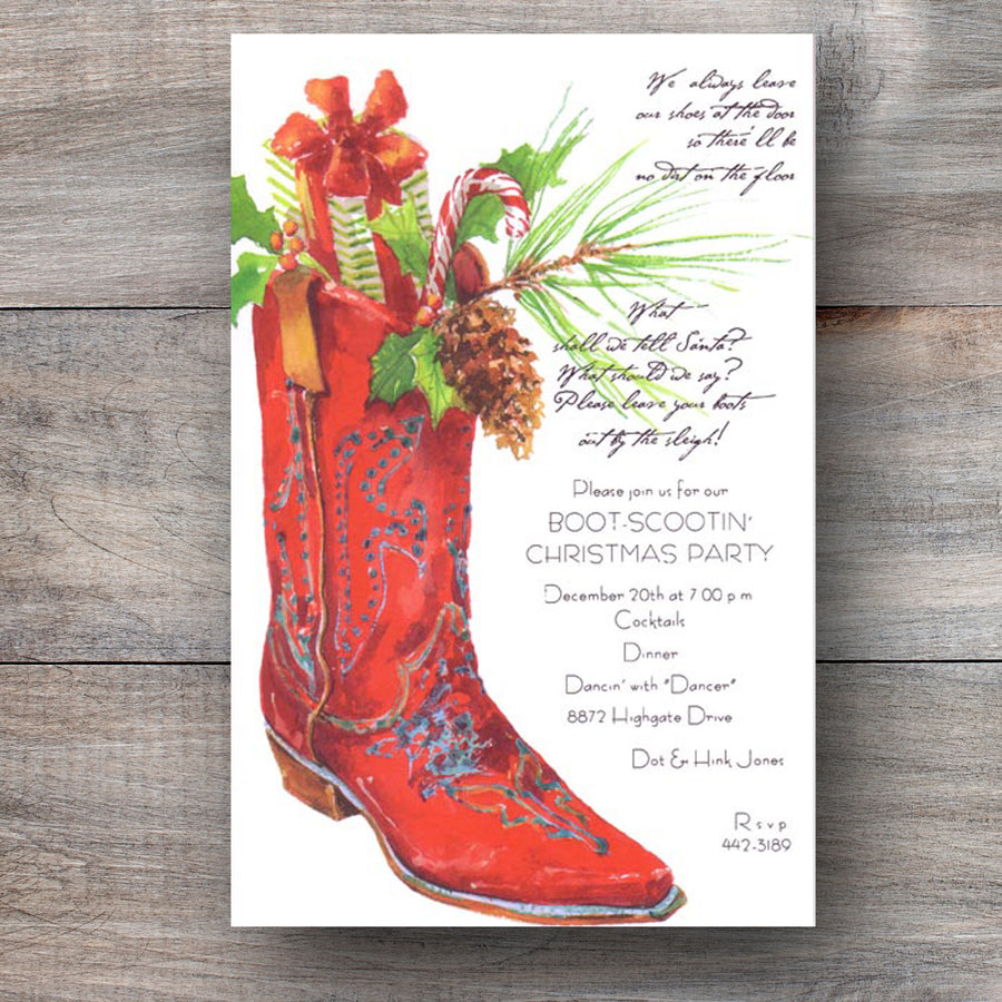 western Christmas invitations with red cowboy boot