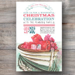 Christmas invitations with boat floating on lake and piled with holiday gifts