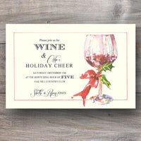 Christmas wine party invitations with wine glass and red wine