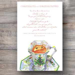 Christmas tea party invitations with porcelain tea cup filled with tea