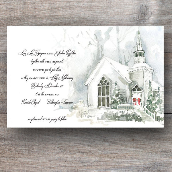 Christmas Eve invitations with church covered in snow and holiday wreaths