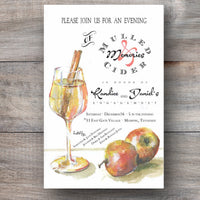 autumn invitations with apple cider and fresh cinnamon