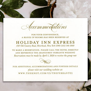 Classic Antique Gold Thermography Accommodation Card