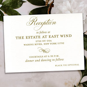 Classic Antique Gold Thermography Reception Card