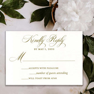 Classic Antique Gold Thermography Wedding RSVP Card