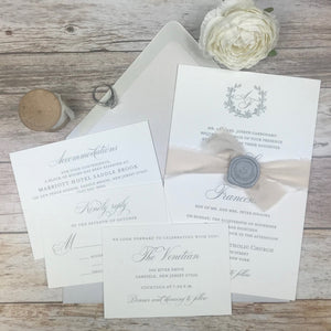 cool gray and blush letterpress wedding invitation suite