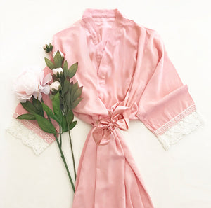 Pink Cotton Lace Robe for Bridal Party Gift