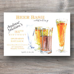 summer party invitations with glasses of craft beer