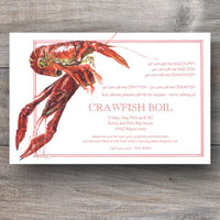 crawfish boil invitations with watercolor image of crawfish