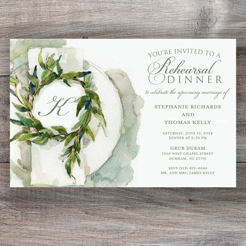 Crisp Linen Rehearsal Dinner Invitations