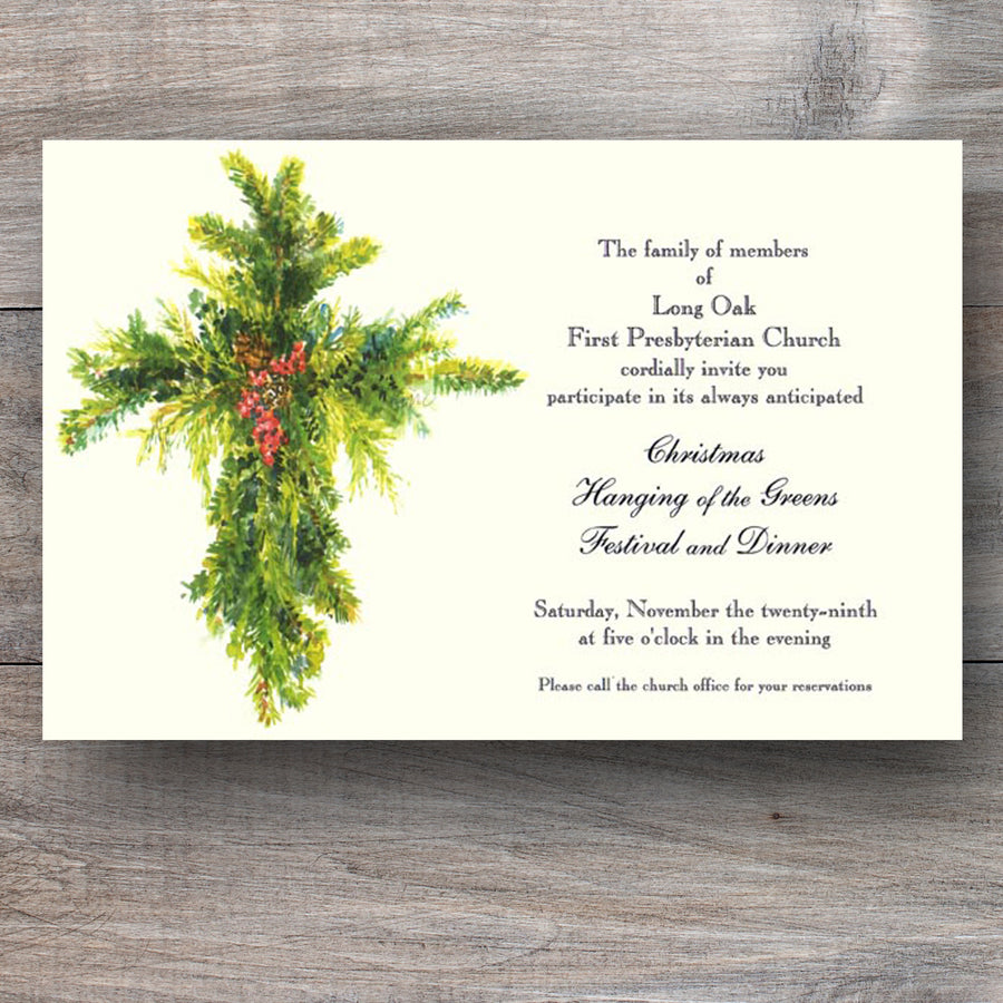Christmas religious invitations with green cross and holly berries