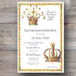 Mardi Gras party invitations with two decorated gold crowns with beads
