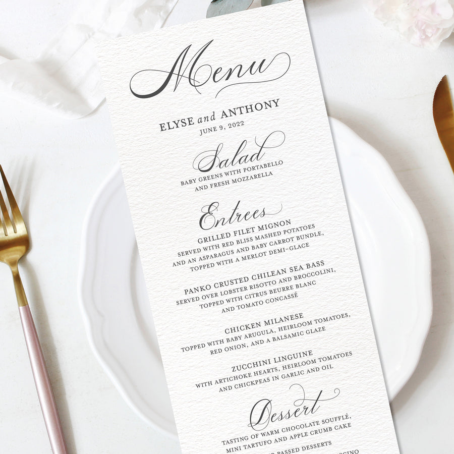 Diplomatic Font Wedding Reception Menu