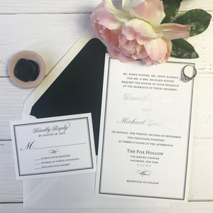 black thermography wedding invitation suite