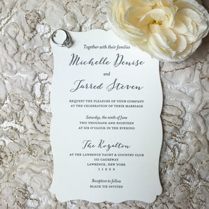 dimple edge letterpress wedding invitation