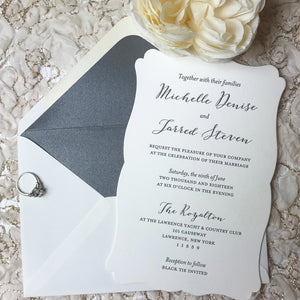 letterpress wedding invitations with dimple edge and shadow gray liner