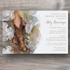 western country bridal shower invitations with bride wearing cowboy boots