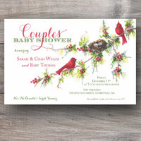 Duo Rouge Christmas Baby Shower Invitations