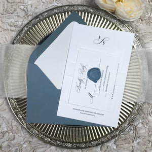dusty blue letterpress wedding invitation