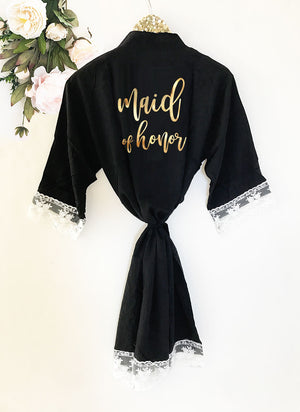 Bridal Party Cotton Lace Robes Maid of Honor Black