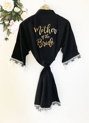 Bridal Party Cotton Lace Robes Mother of the Bride Black