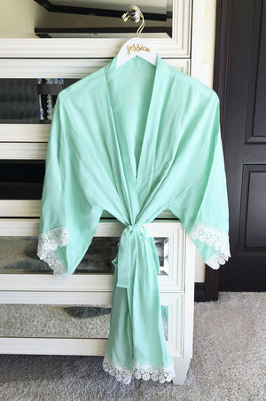 Cotton Lace Robes Mint