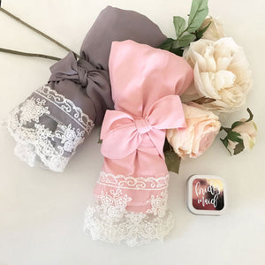 Cotton Lace Robes Pink and Grey