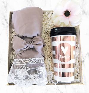 Cotton Lace Robe Grey Gift Box
