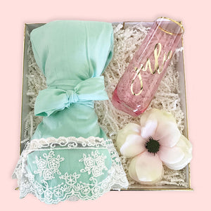 Cotton Lace Robes Mint Green Bridal Party Gift Box Idea