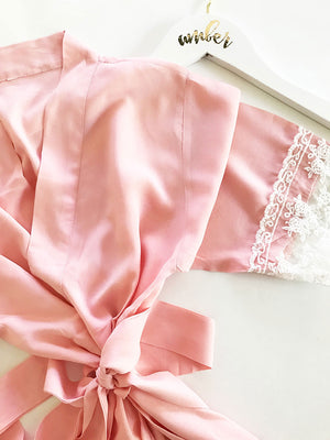 Cotton Lace Robes Pink Close Up