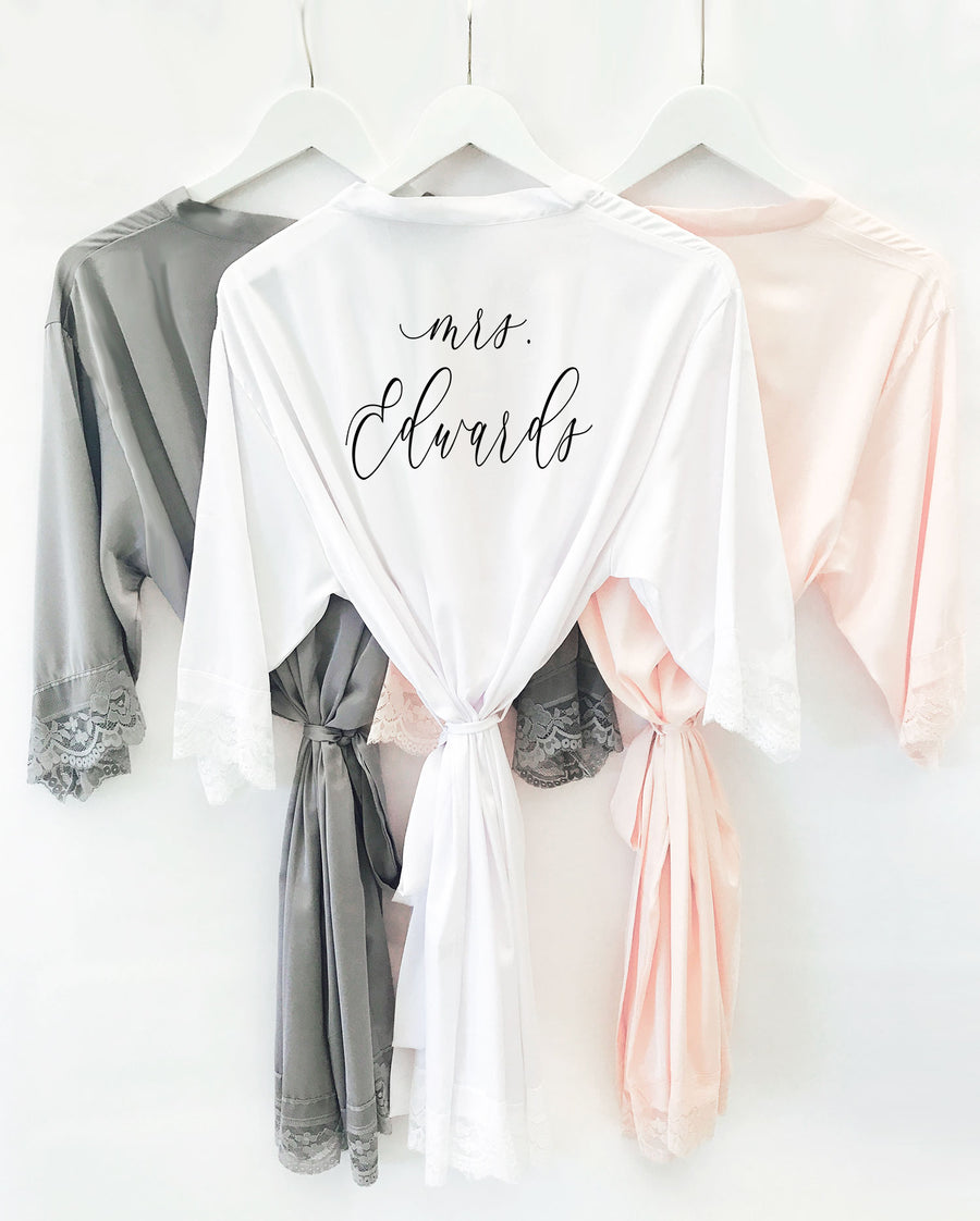 Personalized Bridal Party Satin Lace Robe